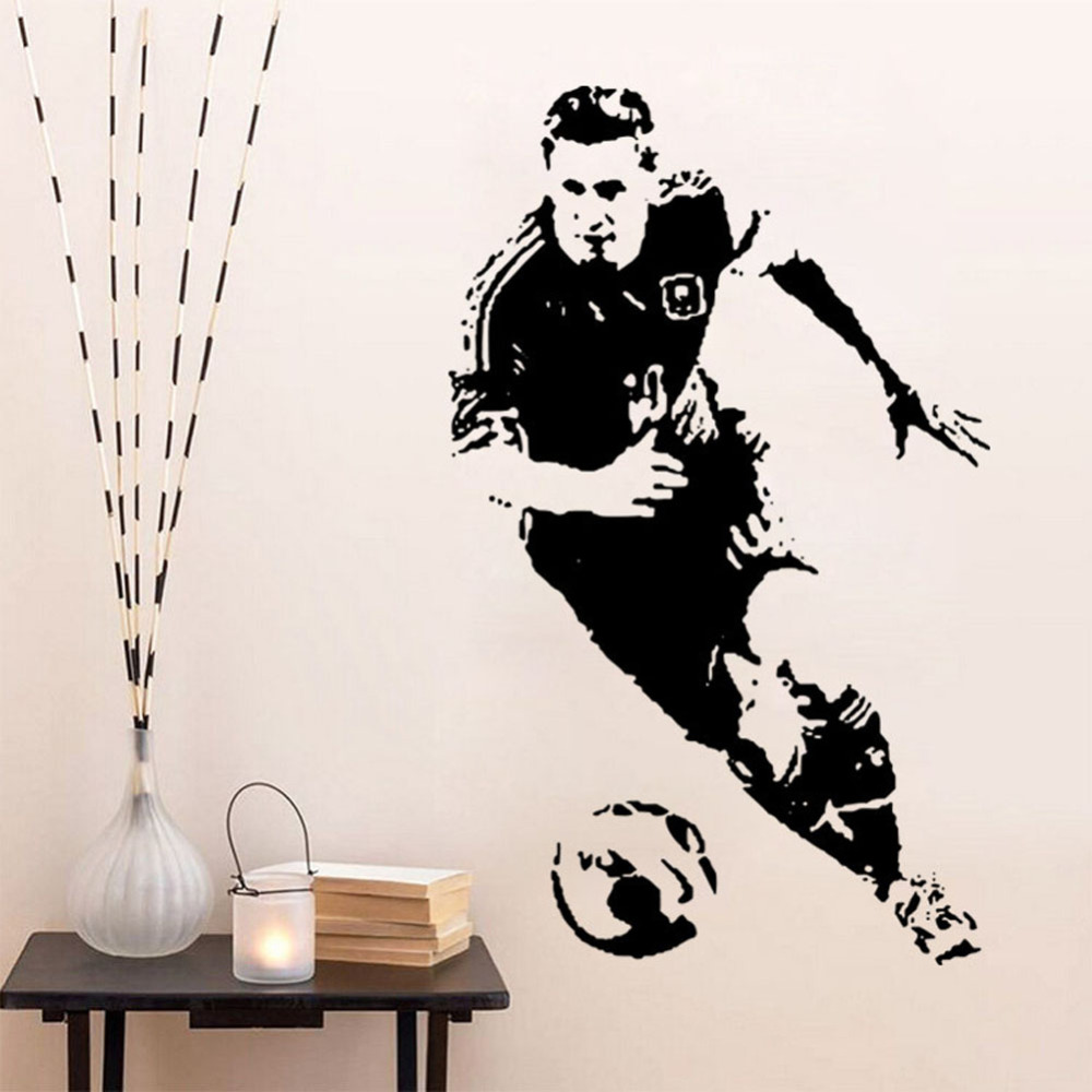 Caved World Player of the Year Lionel Messi Wall Stickers Football Star Decals Vinilos Paredes Black Wall Stickers For Kids Room(China (Mainland))