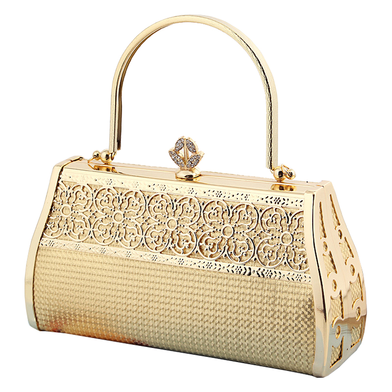 2016 Womens Ladies' Leatherette Diamound embedded women's Golden Flower Hollow out Design handbag Evening Bag Tote clutch 38.9(China (Mainland))