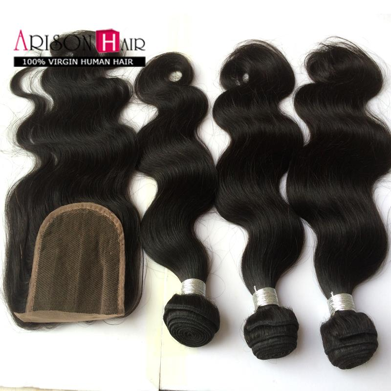 Гаджет  6A Unprocessed Brazilian virgin remy hair with closure body wave human hair and Closure Brazilian Body Wave with Lace Closure None Волосы и аксессуары