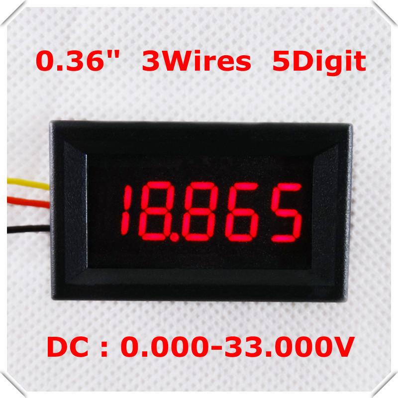 "[15pcs/lot ] Home automation modules LED display Color DC 0-33.000V 0.36"" Digital Voltmeter 3 Wires 5 Digit voltage Panel meter(China (Mainland))"