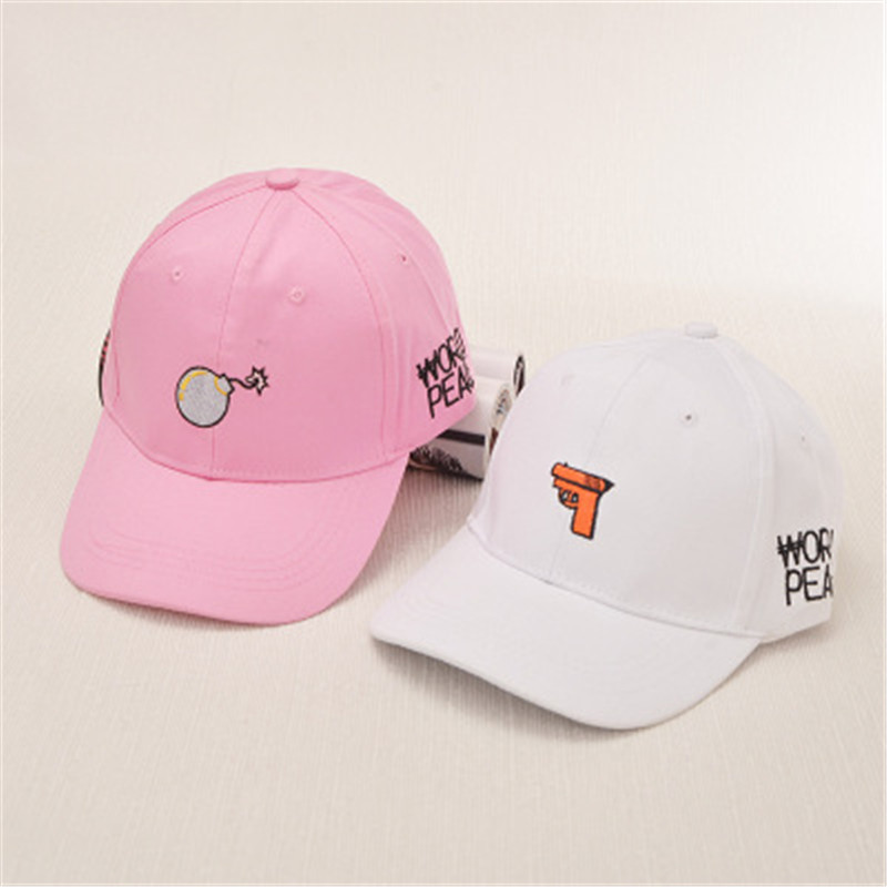 2016 new casual baseball cap embroidered cartoon cute couple haste bomb curved eaves retro hip-hop fashion cap hat childhat(China (Mainland))