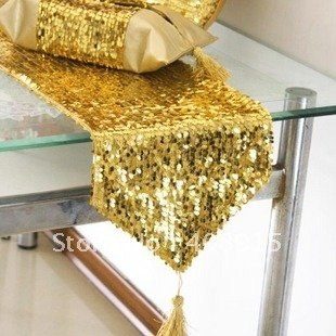 Luxury Table Runner 200x30cm, Fabric with Gold Sequin, for Wedding Decor/ Party Decor/ Christmas Decor, free shipping