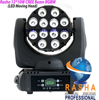 NEW 12PCS*10W 4IN1 Cree RGBW LED Beam Moving Head Light With LCD Display,Stage Disco Party Moving Head Beam