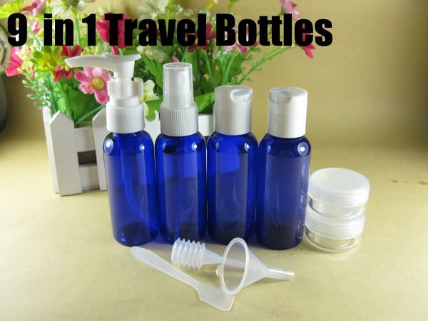 9 in 1 Blue travel bottle set Spray Flip top spiral cap jars small empty bottles free shipping #1337(China (Mainland))