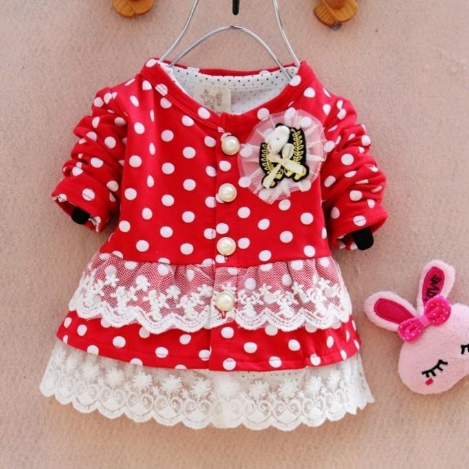 New Spring Autumn girls Dots Winnie princess t shirt kids shits Baby children Clothing Wear(China (Mainland))