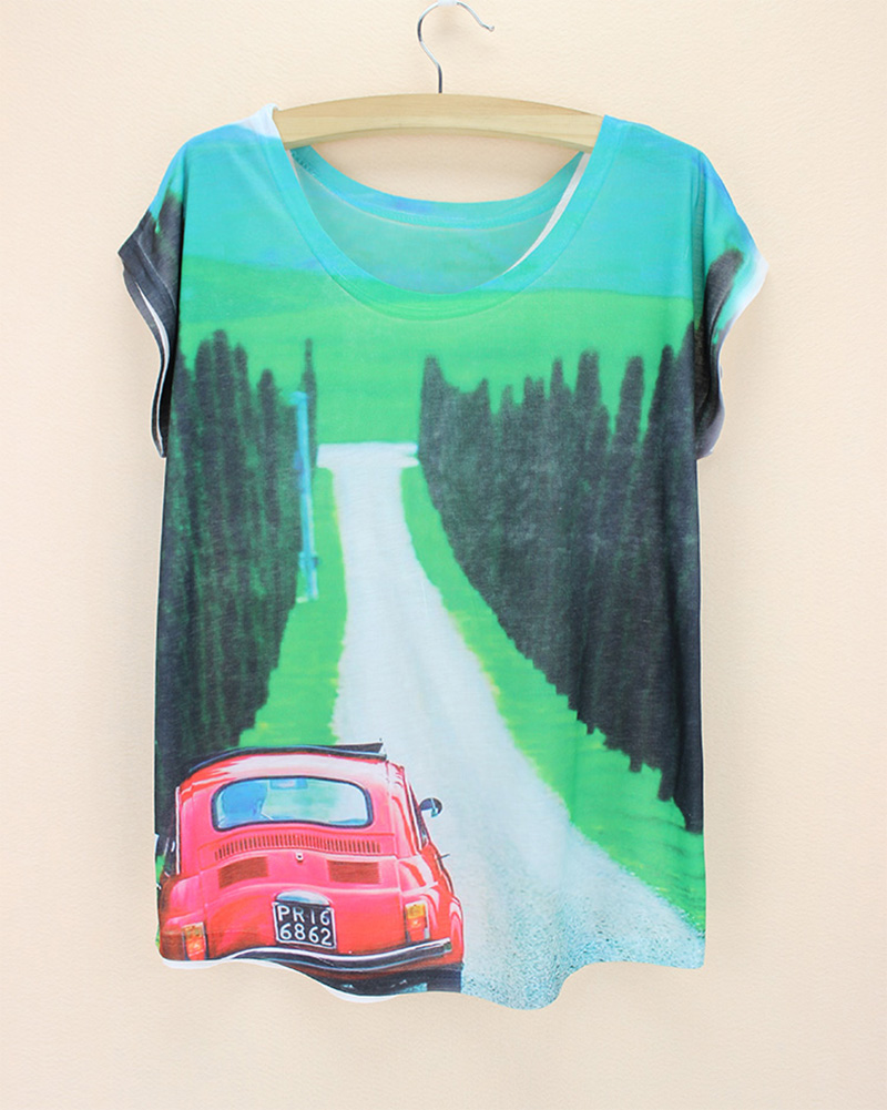 green forest road red bus blue mountain women's t shirt big size low price new arrival women tops 2015 good qulaity harajuku(China (Mainland))