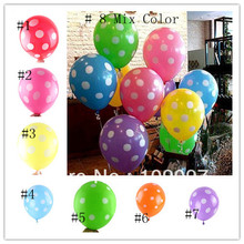 50pcs/Lot Multi Colored Polka Dot Balloons Wedding Marry Marriage Room Decoration Essential Round Ballon Classic Toys Balloons(China (Mainland))