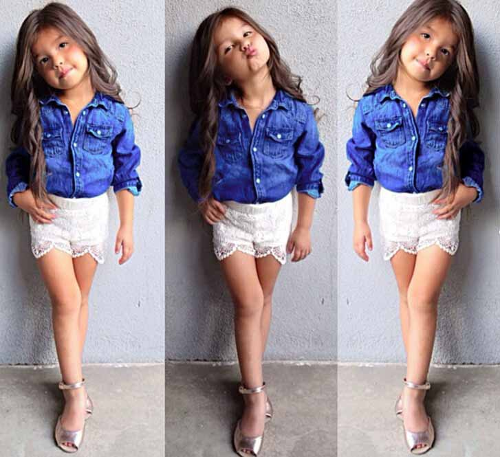 2015 New Spring Girls Clothing Set ( Girls Denim Coat Girl Jacket + Lace Shorts ) Fashion Kids Clothes Girl Casual Suit 1556<br><br>Aliexpress