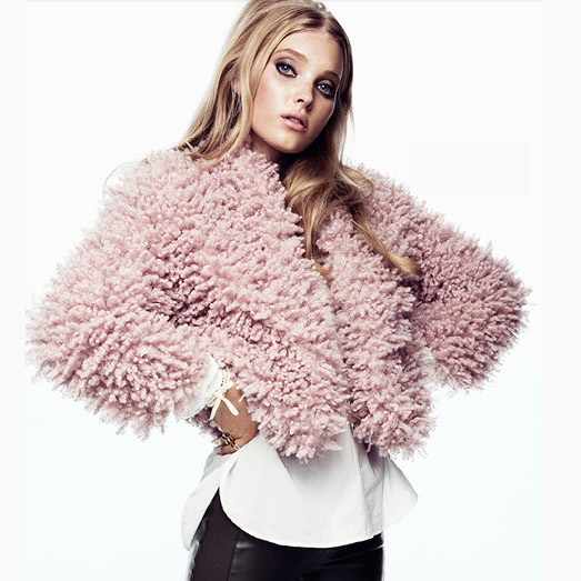 HYD 2015 Fashion New MAO imitation sheepskin soft pink circle surface seven short coat sleeve button without fur - RI Urban Leisure Shopping Center store