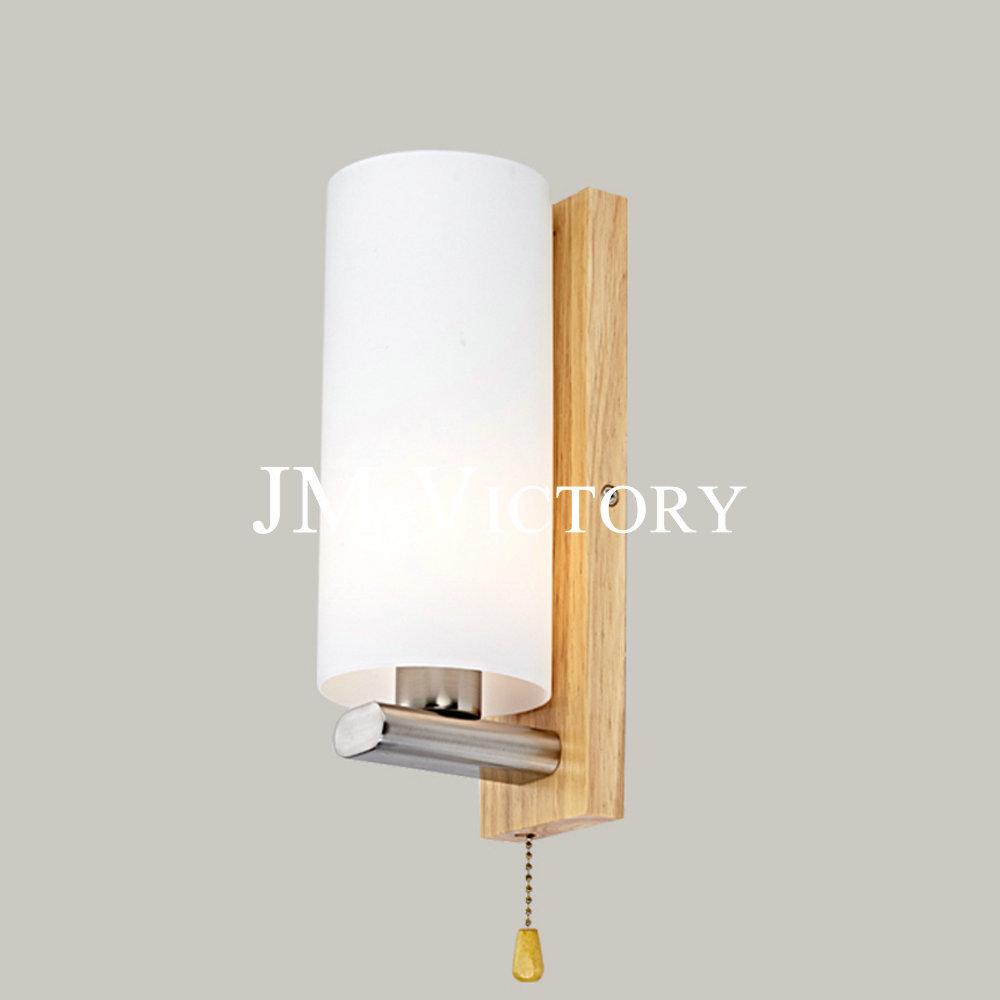 Simple bedroom bedside lamp glass oak fashion warm balcony corridor aisle lights with wood lamp switch<br><br>Aliexpress
