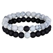 Hot Couples Distance Bracelet Natural Stone White Black Yoga Beaded Bracelets for Men Women Friend Gift Charm Strand Jewelry(China)