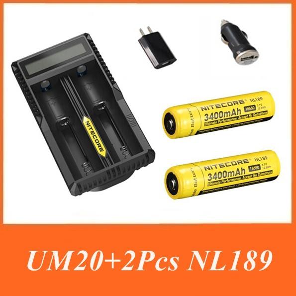 Nitecore UM20 Digicharger LCD Display Battery Charger Nitecore Charger+NL189 3400Mah Battery with US/EU/AU/UK+Car Adapter(China (Mainland))