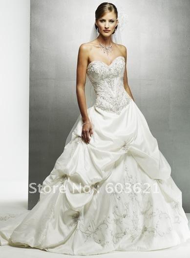 Custom-Made wedding dresses luxury Satin dress new Slim beaded Bridal Gowns beaded and laced  satin long train YU-126