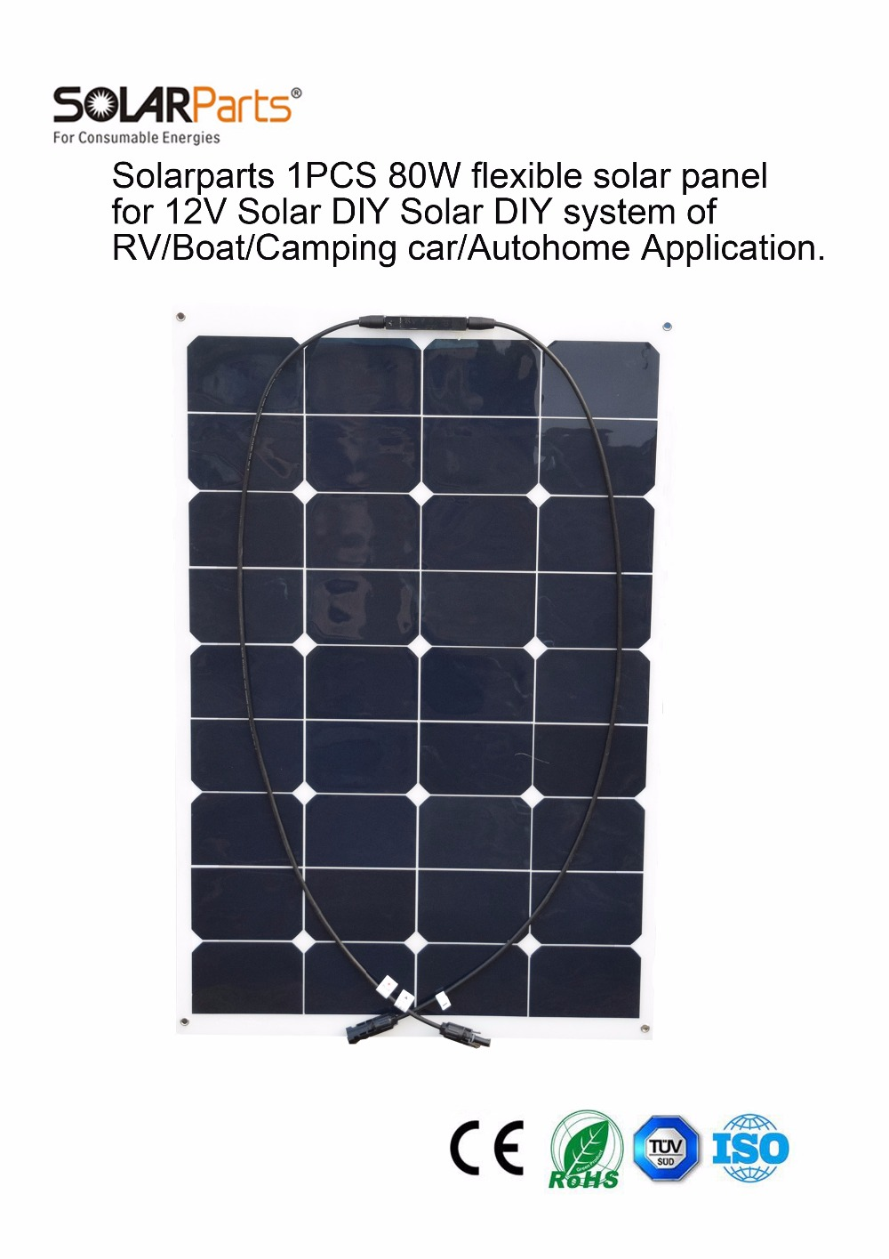 Solarparts 1x 80W flexible solar panel 12V solar system solar cell marine yacht boat RV solar module for battery charger factory(China (Mainland))
