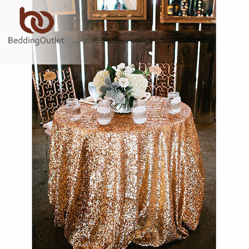BeddingOutlet Sequin Tablecloth for Wedding Party Gold Silver Champagne Colorful Table Cloth Decoration Bling 150cm(China (Mainland))