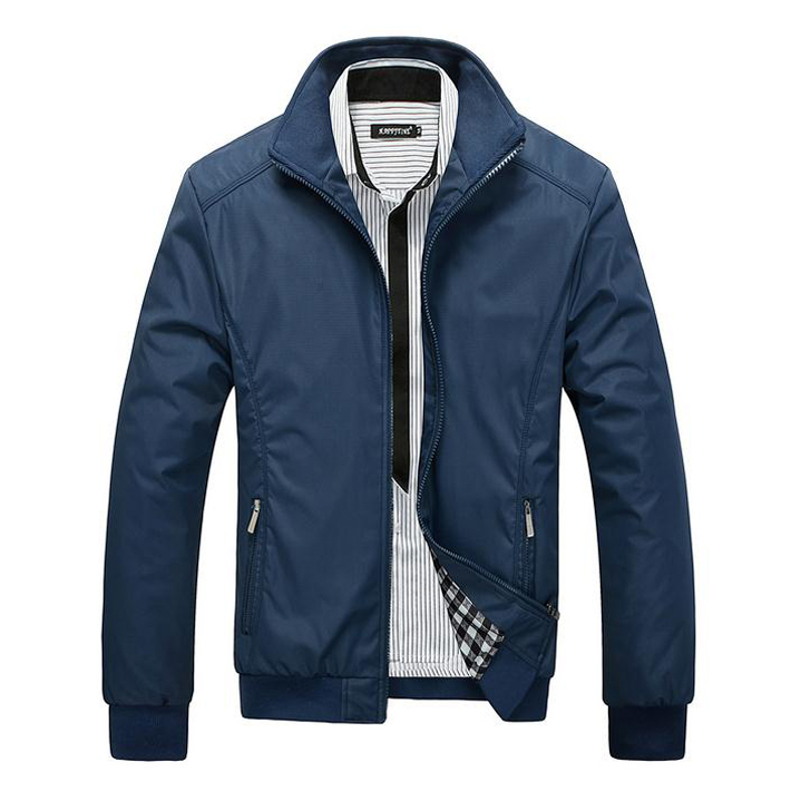 2015 New Arrival Spring Men's Solid Fashion Jacket Male Casual Slim Fit Mandarin Collar Jacket 3 Colors M-XXXL MWJ682(China (Mainland))