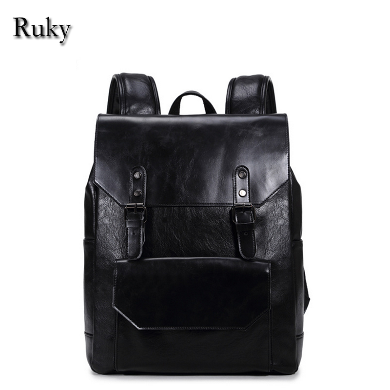2016 New Casual Men Business Backpacks Fashion High Grade PU Leather Designer Men's Schoolbag Travel Laptop Bag  -  China beijng Ruky bags Co., Ltd. Store store