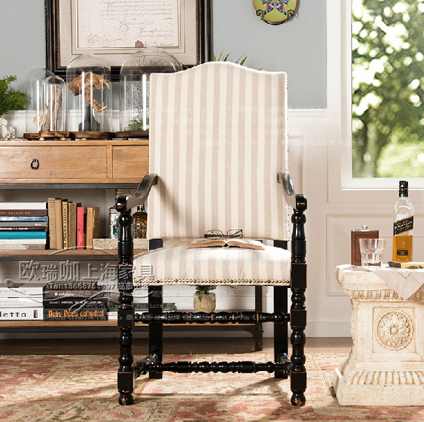 American French Country Furniture Wood Dining Chairs With
