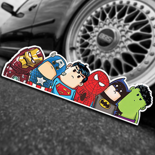 Super Hero Hitchhike Save The World Car Styling Motorcycle Decal Moto Stickers Funny Cartoon Reflective Car Stickers Accessories(China (Mainland))