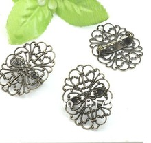 Free shipping!!! Fit 25*34MM Flower Filigree Design Kilt Safety Pin Brooch Metal Basic Brooch Pin