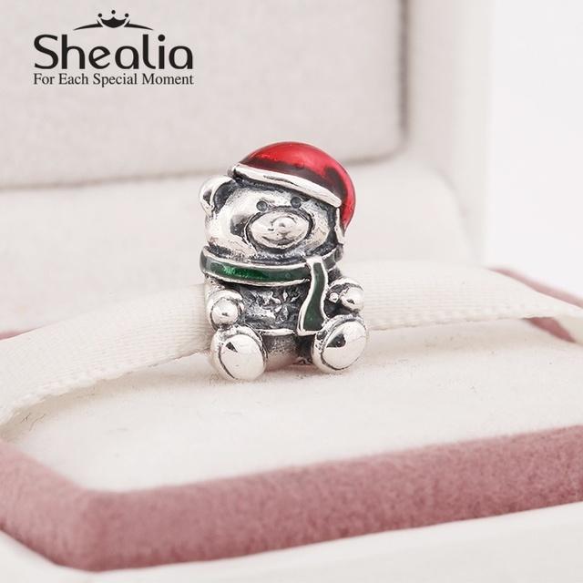 Shealia 925 красной эмалью рождество плюшевый мишка прелести для женщин известный браслеты сделай сам ювелирное лучший рождественский подарок