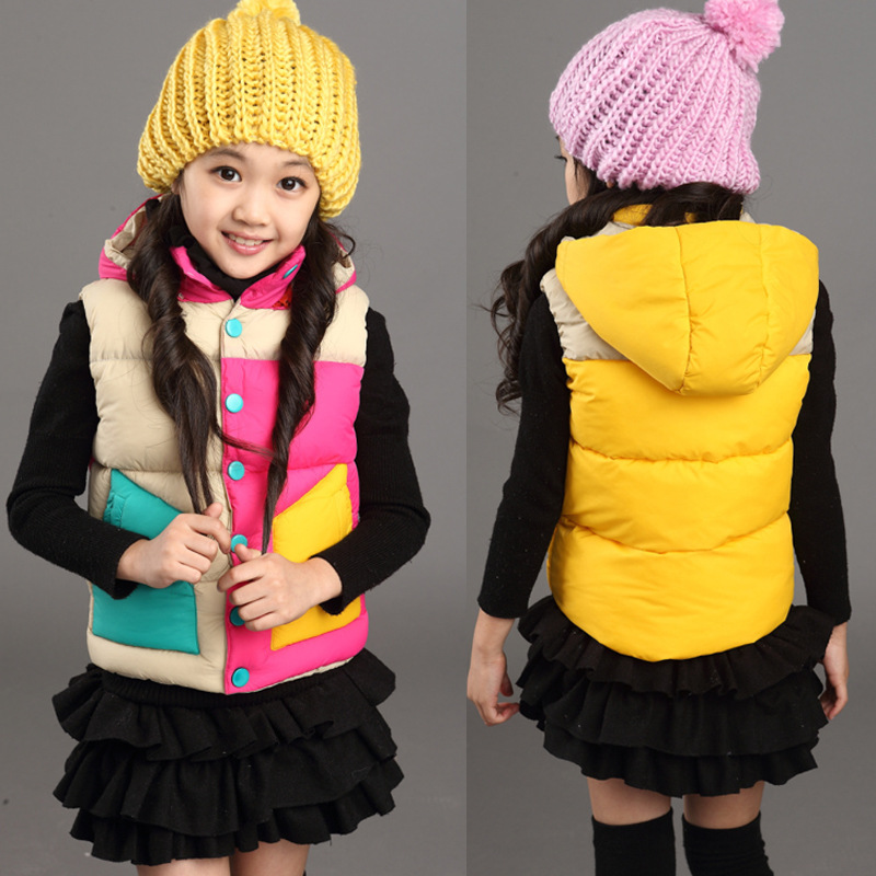 5~14years Hood Girls Vest 2015 Fall Spring Rainbow Contrast Color Polyester Padding Rose Red Yellow Girls Waistcoat Hot Sale<br><br>Aliexpress