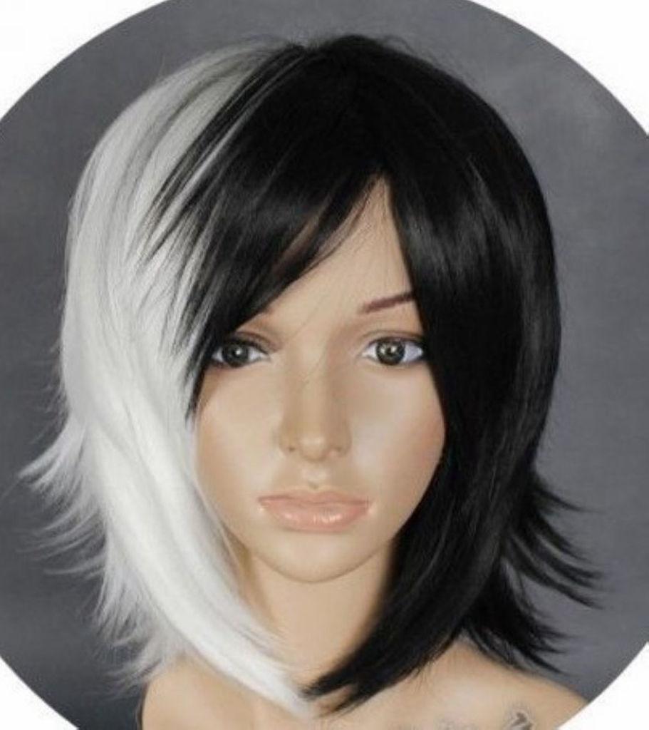 kk 003789 Hot Sell! women Popular Short Straight black mixed white Cosplay Wigs + wig cap<br><br>Aliexpress