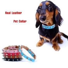 Классический Пэт Подлинный Реальный Кожаный Ошейник С Шипами Панк Шипованных Маленький Большой Собаки Воротник Бишон Чихуахуа Pet Shop Поставки