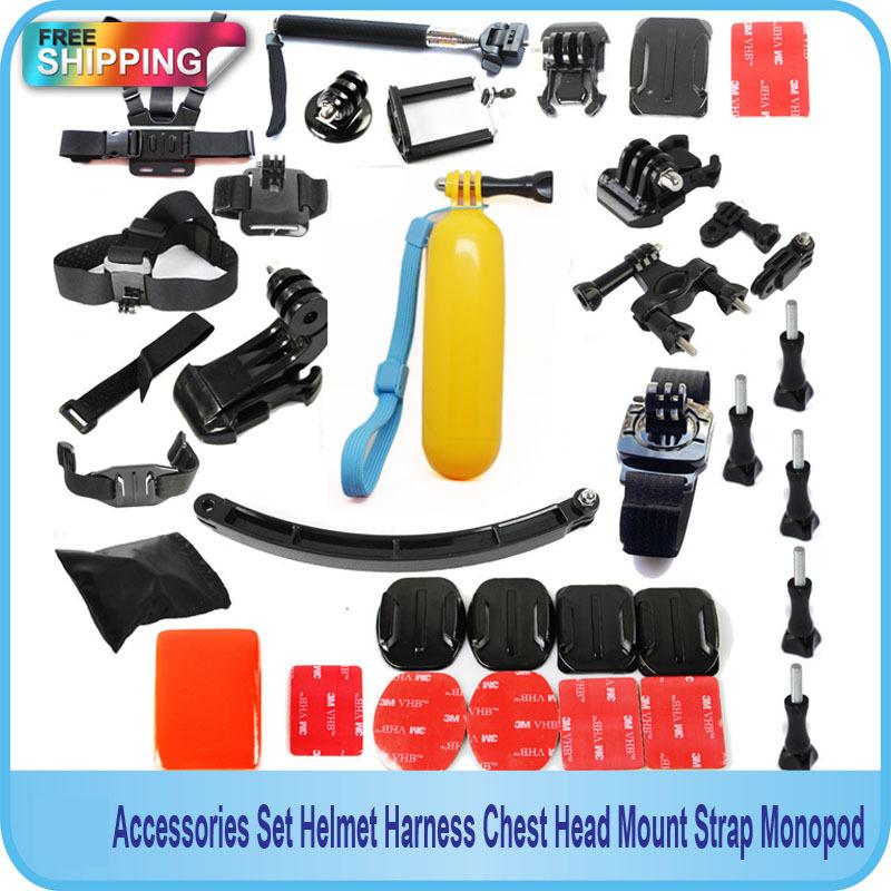 Free Shipping!! Gopro Accessories Set Helmet Harness Chest Head Mount Strap Monopod for Gopro,SJ4000,SJ5000, Xiaomi YI Sport Cam