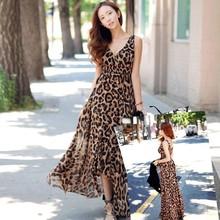2015 New Women Summer Leopard Dress Maxi Long Dresses Long Chiffon V-Neck Casual Dress Woman Plus Size Wholesale 10(China (Mainland))