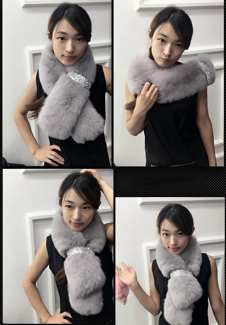 100% Real Fox Fur Scarf Winter Grils Women Warm Scarves Fur Hat Coat  Fashion Fox Fur Solid Scarf High Quality 100*16com MHS 03