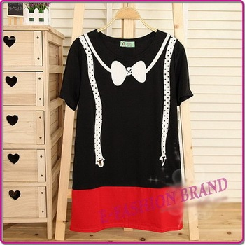 Hot Sale Korean Plus Size Womens Casual Short Sleeve Printing Patchwork Bat  t shirt Top Free Shipping