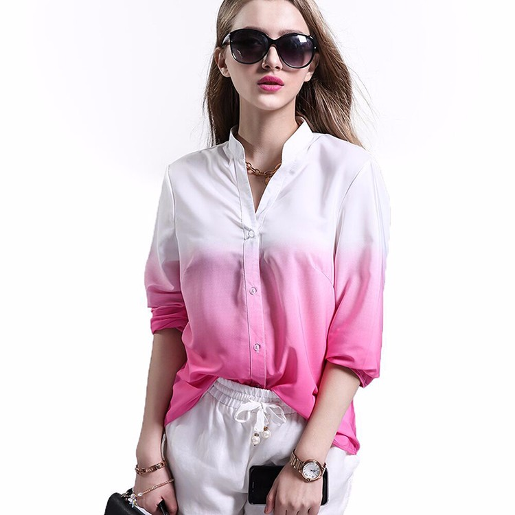 2016 New Arrival Women Tops Fashion Lady Shirt Long Sleeve V Neck Gradient Color Casual Blouses Streetwear Plus Size Blouses