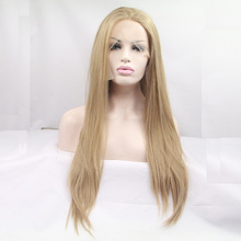 high quality blonde natural straight wigs synthetic lace front wig heat resistant fiber in stock free shipping(China (Mainland))