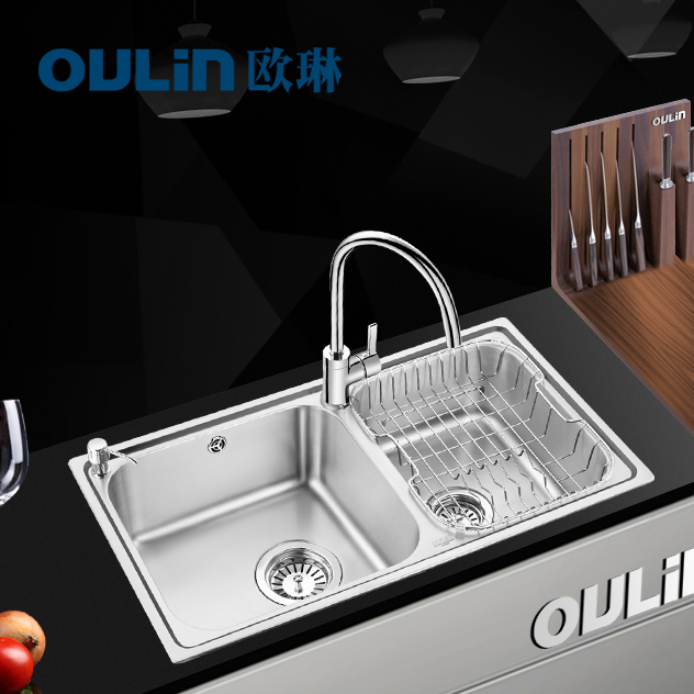 Free shipping kitchen sink double slot package kitchen vegetable washing basin wash 304 stainless steel water tank thickening(China (Mainland))