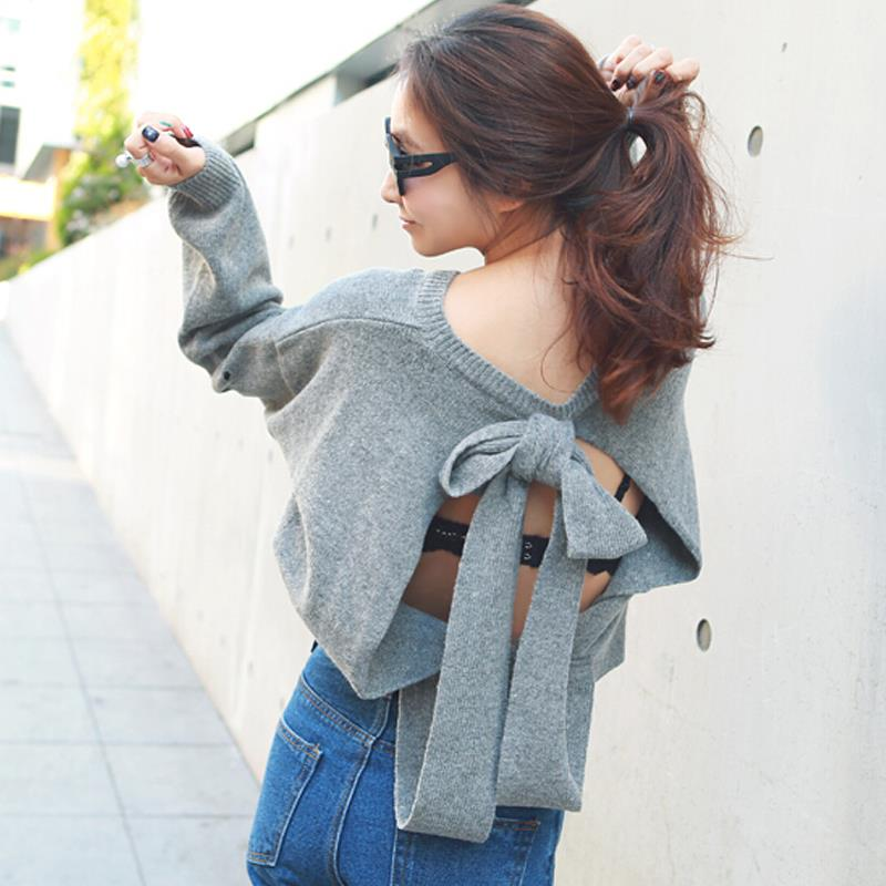 loose vintage women sweater ripped backless bow knitted pullovers women jumpers pull femme casaquinho feminino(China (Mainland))