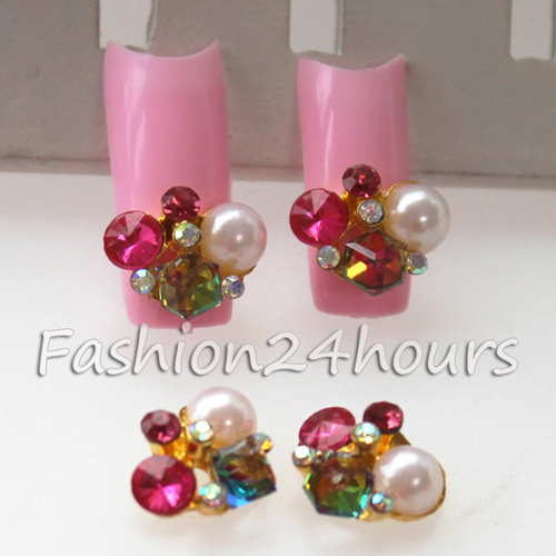 2015 Hot Sale Glitter Rose Red And AB Rhinestones And White Pearls Nail Design, Gold Alloy 3D Nail Jewelry 20pcs/pack(China (Mainland))