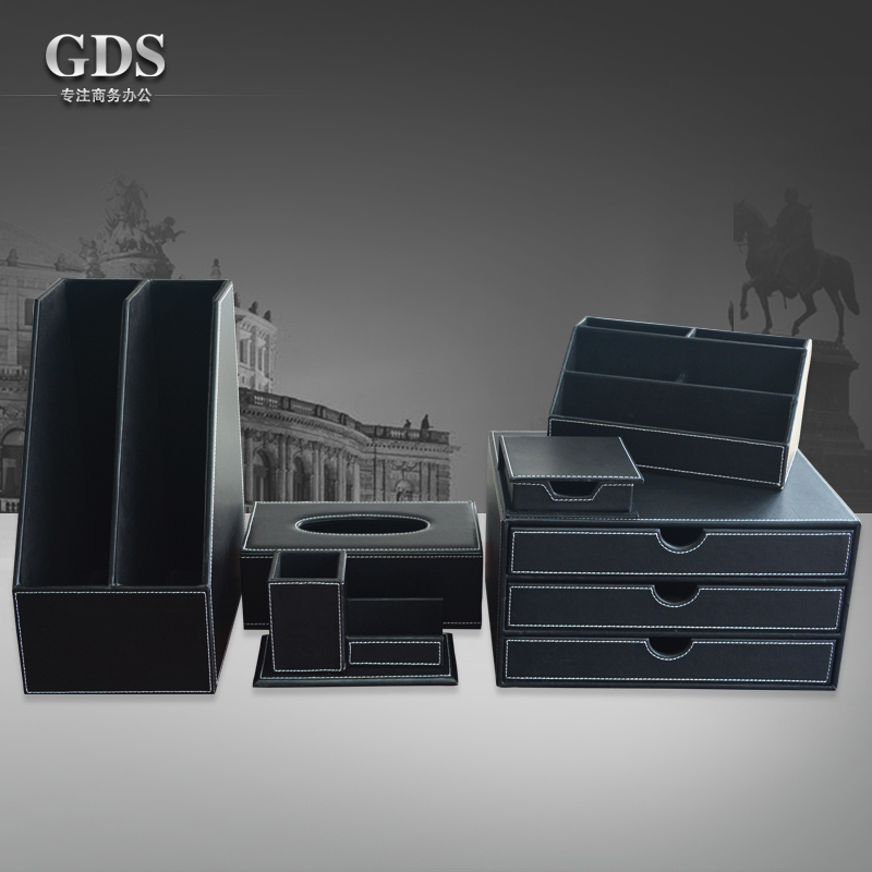 black 6 PCS/set leather office desk stationery accessories organizer pen holder note case mouse mat roll tissue box