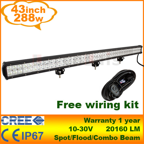 """43"""" inch 288W Cree LED Work Light Bar for Tractor Boat Off-Road 4WD 4x4 with Wiring Kit Truck SUV ATV Spot Flood Combo Beam(China (Mainland))"""