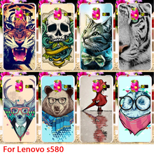 phone Case For Lenovo S580 5.0 inch Soft TPU Cases Cartoon Animal Dog Lion Owl Tiger Cat Colorful Housings Shell Cover Skin Bags(China (Mainland))