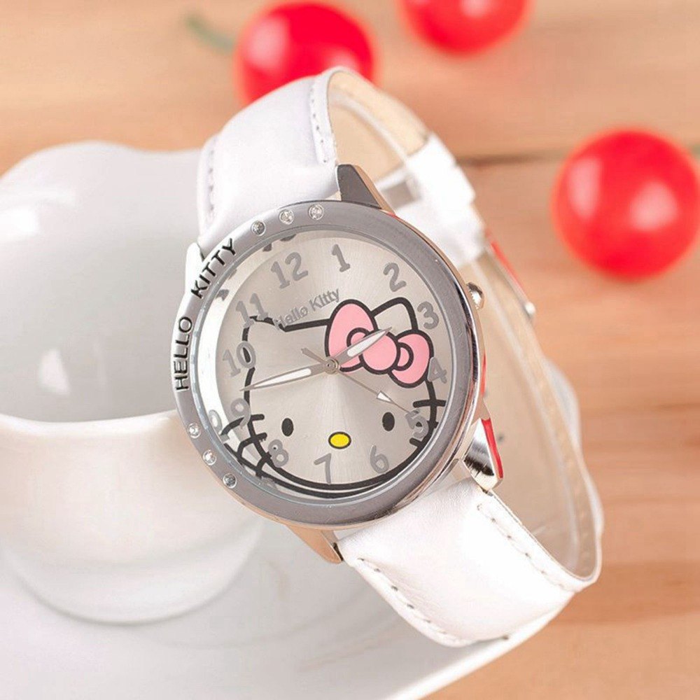 Great deals! Promotional 2016 fashion brand Hello Kitty children's leather strap watches dress 5 colors free shipping Relogio(China (Mainland))