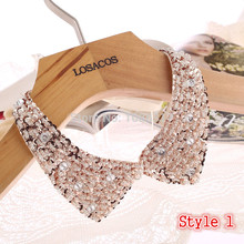 8 Styles Fashion women Sequined beaded knitted cloth Ribbon Fake collar Choker Necklaces clothing accessories U choose Hot sell