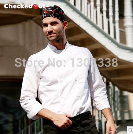Unisex chef uniform kitchen cook suit Checkedout chef jacket Free Shipping(China (Mainland))