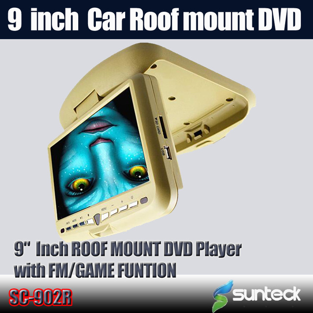 Free Shipping  9 inch Flip Down Car DVD player with 32bit game+MPEG4+USB+SD+FM+IR funtions