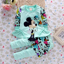Fashion spring baby girl clothing sets girls fleece warm suits sets minnie casual kids clothes set for girls