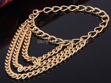 2014 New Sexy Women Gold Tone 3 Row Drapped Ankle Chains Anklet Foot Bracelet Chain For