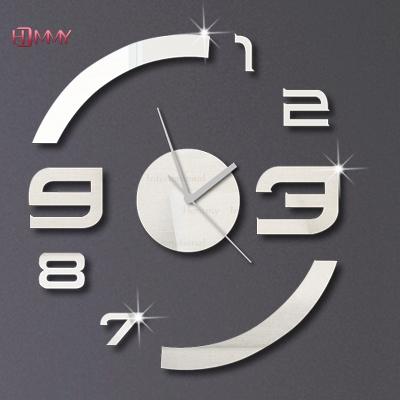 3d Fashion design wall clock modern design luxury mirror wall clock,3d crystal mirror wall watches wall clocks 6 numbers total.(China (Mainland))