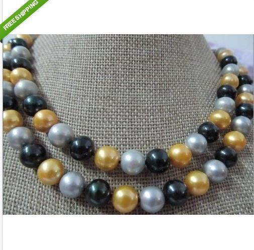 classic free earring south sea 8-9mm black gold gray AA+ pearl necklace 35' 14k - gairong hou's store