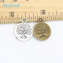 Árbol de vida colgantes de los encantos for joyería que hace el Vintage Antique Silver Plated hechos a mano DIY 19 x 15 mm 20 unids(China (Mainland))