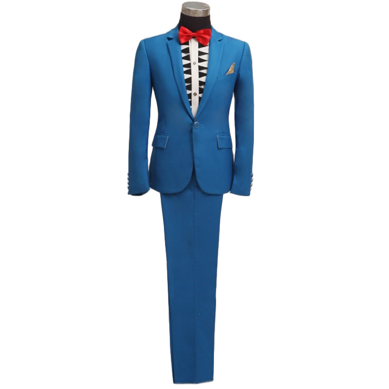 Brand Blue Men Suit 2015 New Arrival Mens Slim Fit Single Button Suits With Pants Stylish Groom Prom Party Wedding Suits For MenОдежда и ак�е��уары<br><br><br>Aliexpress